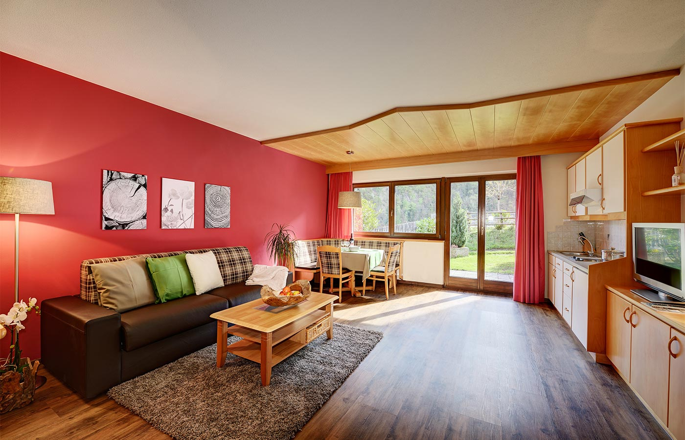 Living room of an apartment in the Alpenhof