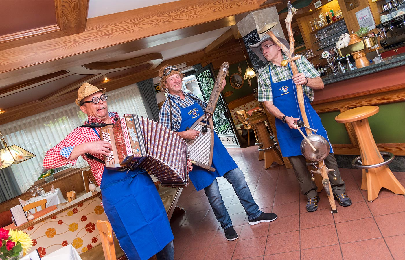 A trio of musicians at the Hotel Alpenhof