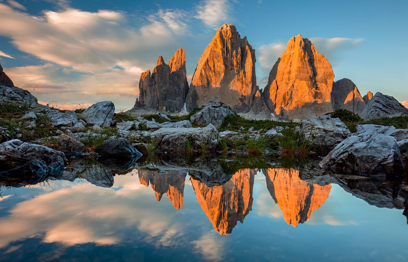 The three peaks of Lavaredo in the heart of the Dolomites